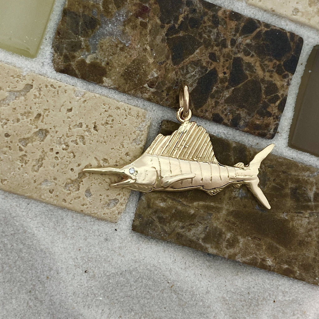14k Yellow Gold Sailfish With Diamond Eye Pendant - DePaulas