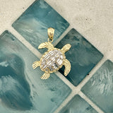14k 2-Tone Medium Diamond Cut Turtle Pendant