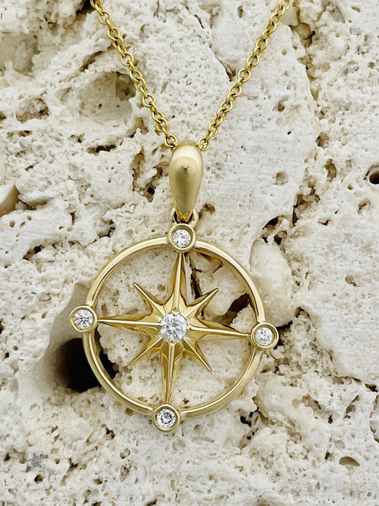 14k gold pendant necklace compass