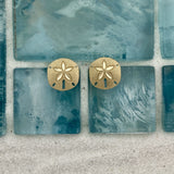 14k Yellow Gold Diamond Cut Small Sand Dollar Post Earrings