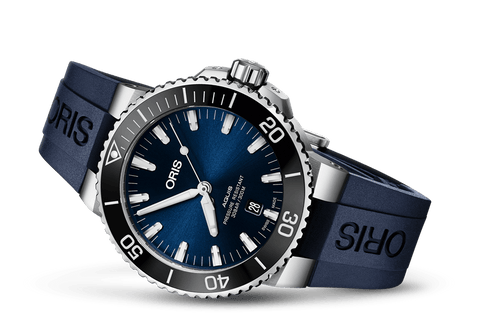 Oris Aquis Date Blue 43mm Dive Watch Rubber Strap 01 733 7730 4135-07 4 24 65EB - DePaulas
