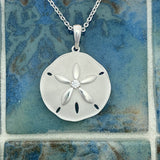 925 Sterling Silver Sand Dollar With Cubic Zirconia Necklace