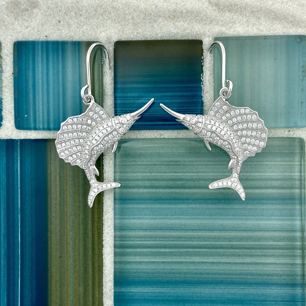 925 Sterling Silver Cubic Zirconia Sailfish French Wire Earrings - DePaulas