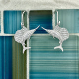 925 Sterling Silver Cubic Zirconia Sailfish French Wire Earrings