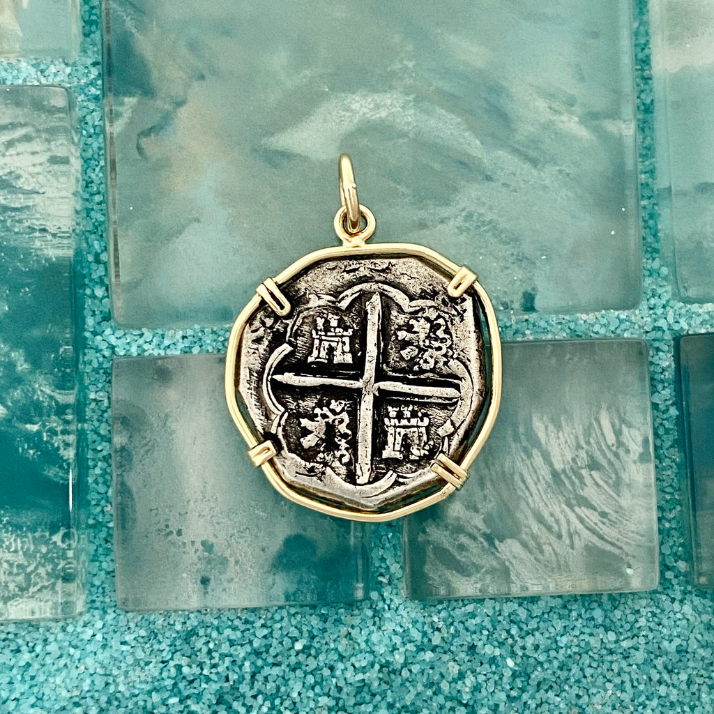 2 Reales Spain Mint Circa 1580-1600 14k Yellow Gold Bezel Treasure Coin Pendant