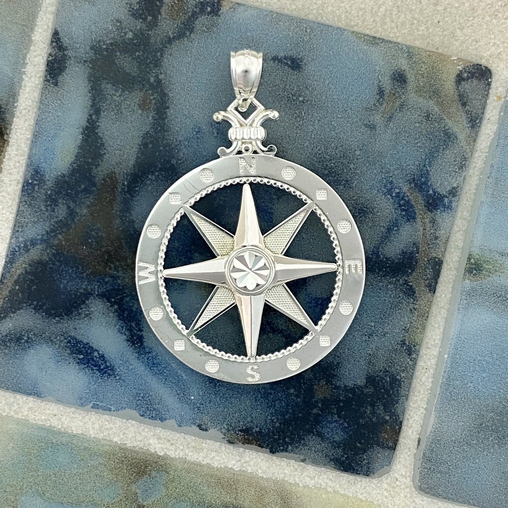925 Sterling Silver Large Compass Rose - DePaulas