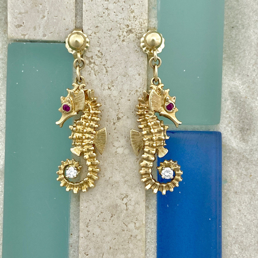 14k Yellow Gold Seahorse Holding Diamond .16cttw With Ruby Eye Post Earrings - DePaulas