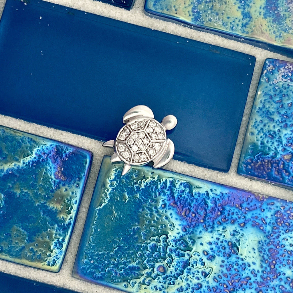 14k White Gold Diamond .15cttw Turtle Pendant - DePaulas