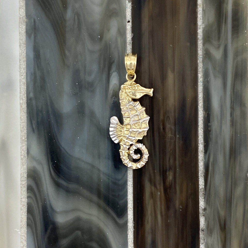 14k 2-Tone Gold Diamond Cut Small Seahorse Pendant - DePaulas
