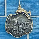 8 Reales Mexico City Mint Concepcion Wreck Circa 1641 14k Yellow Gold Bezel with Fish Treasure Coin Pendant