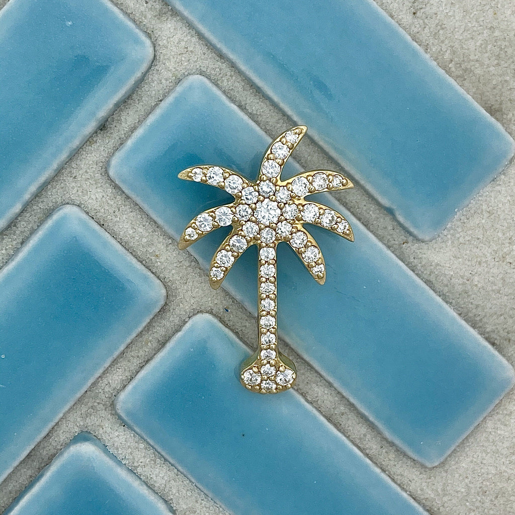 14k Yellow Gold Diamond .75cttw Palm Tree Pendant - DePaulas