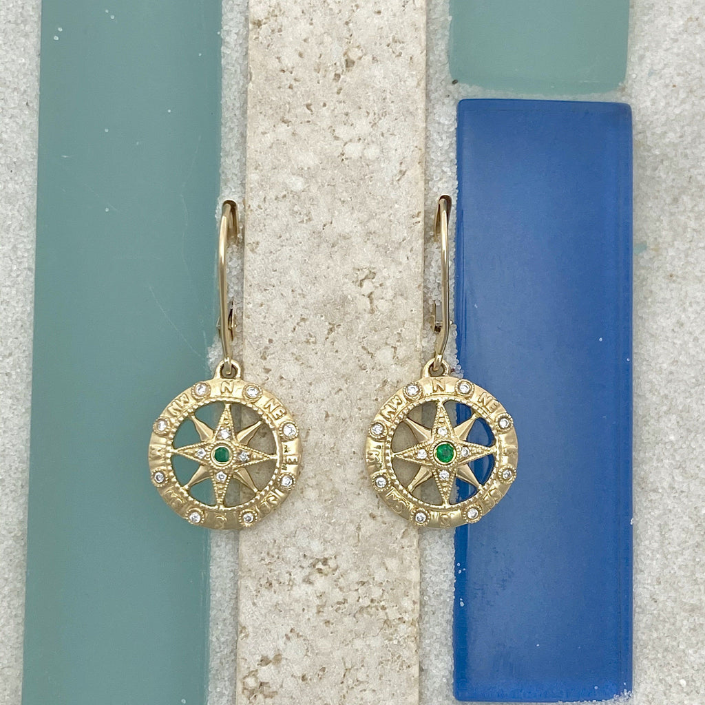 14k Yellow Gold Compass Rose with Diamonds .06cttw and Emerald .03cttw Leverback Earrings - DePaulas