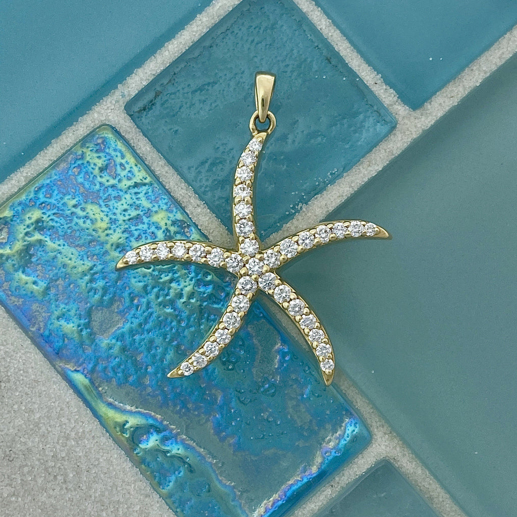 14k Yellow Gold Diamond 1cttw Starfish Pendant - DePaulas