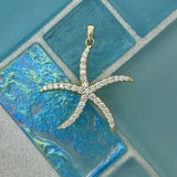 14k Yellow Gold Diamond 1cttw Starfish Pendant