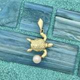 14k Yellow Gold Turtle With Salt Water Pearl Pendant