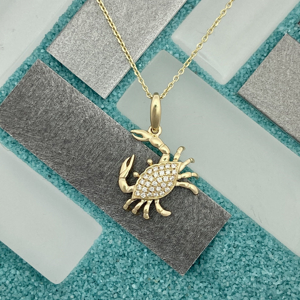 14k Yellow Gold Diamond .12cttw Crab Necklace - DePaulas