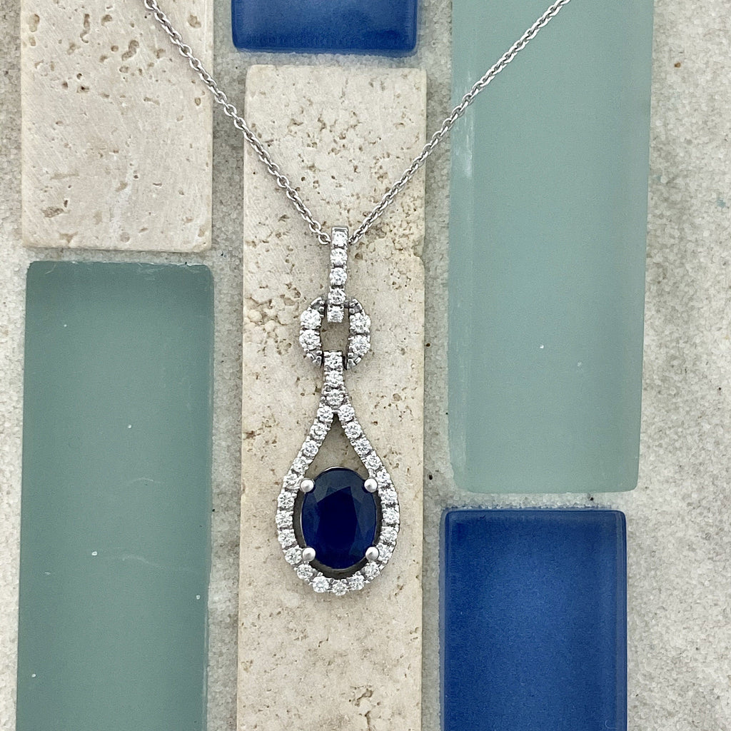 14k White Gold Oval Sapphire 1.33ct with Diamond Accents .36cttw Necklace - DePaulas