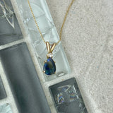 14k Yellow Gold Black Opal With Diamond Accent Necklace