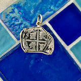 2 Reales Spain Mint Dated Circa 1580-1600 With Dint 14k Yellow Gold Bezel Treasure Coin Pendant