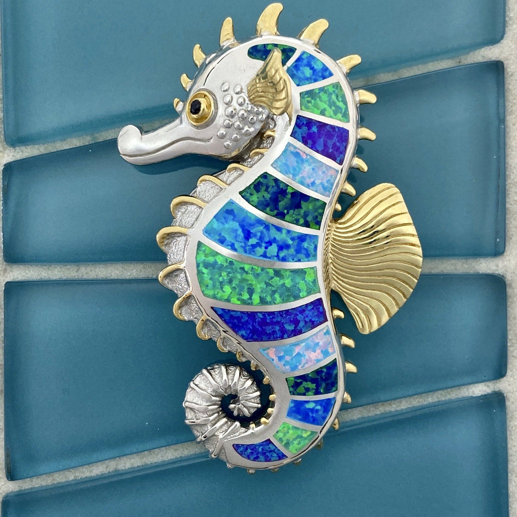 925 and 18k Gold Plating Synthetic Opal Large Seahorse Kovel Collection Pendant - DePaulas