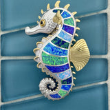 925 and 18k Gold Plating Synthetic Opal Large Seahorse Kovel Collection Pendant