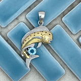925 and 18k Gold Plating Mahi with Blue Topaz Kovel Collection Pendant