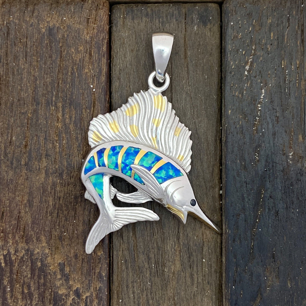 925 and 18k Gold Plating Sailfish with Synthetic Opal Kovel Collection Pendant - DePaulas
