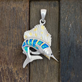 925 and 18k Gold Plating Sailfish with Synthetic Opal Kovel Collection Pendant