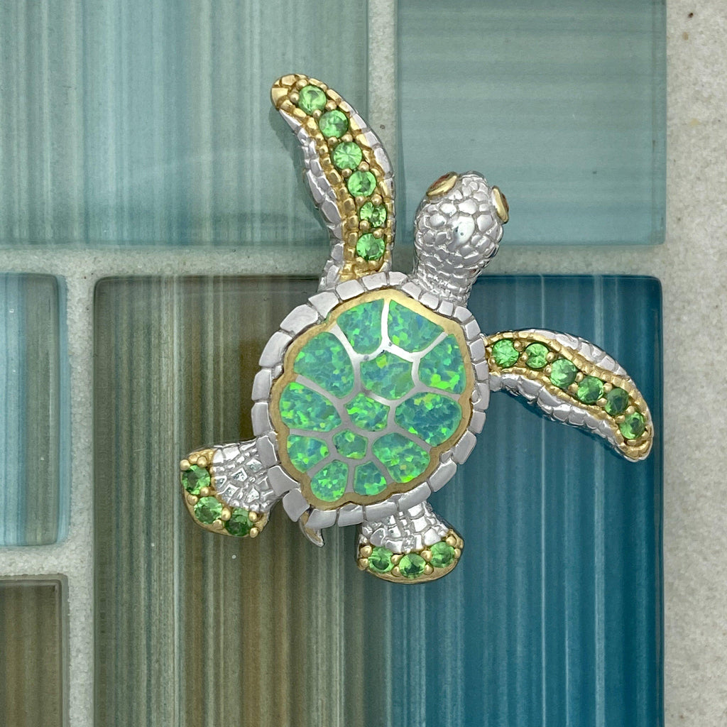 925 and 18k Gold Plating Synthetic Opal Turtle with Tsavorite Kovel Collection Pendant - DePaulas