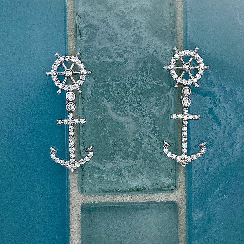 14k White Gold Diamond .25ct tw Ships Wheel and Anchor Post Earrings - DePaulas
