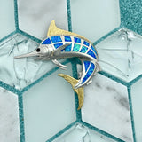 925 and 18k Gold Plating Synthetic Opal Marlin Kovel Collection Pendant