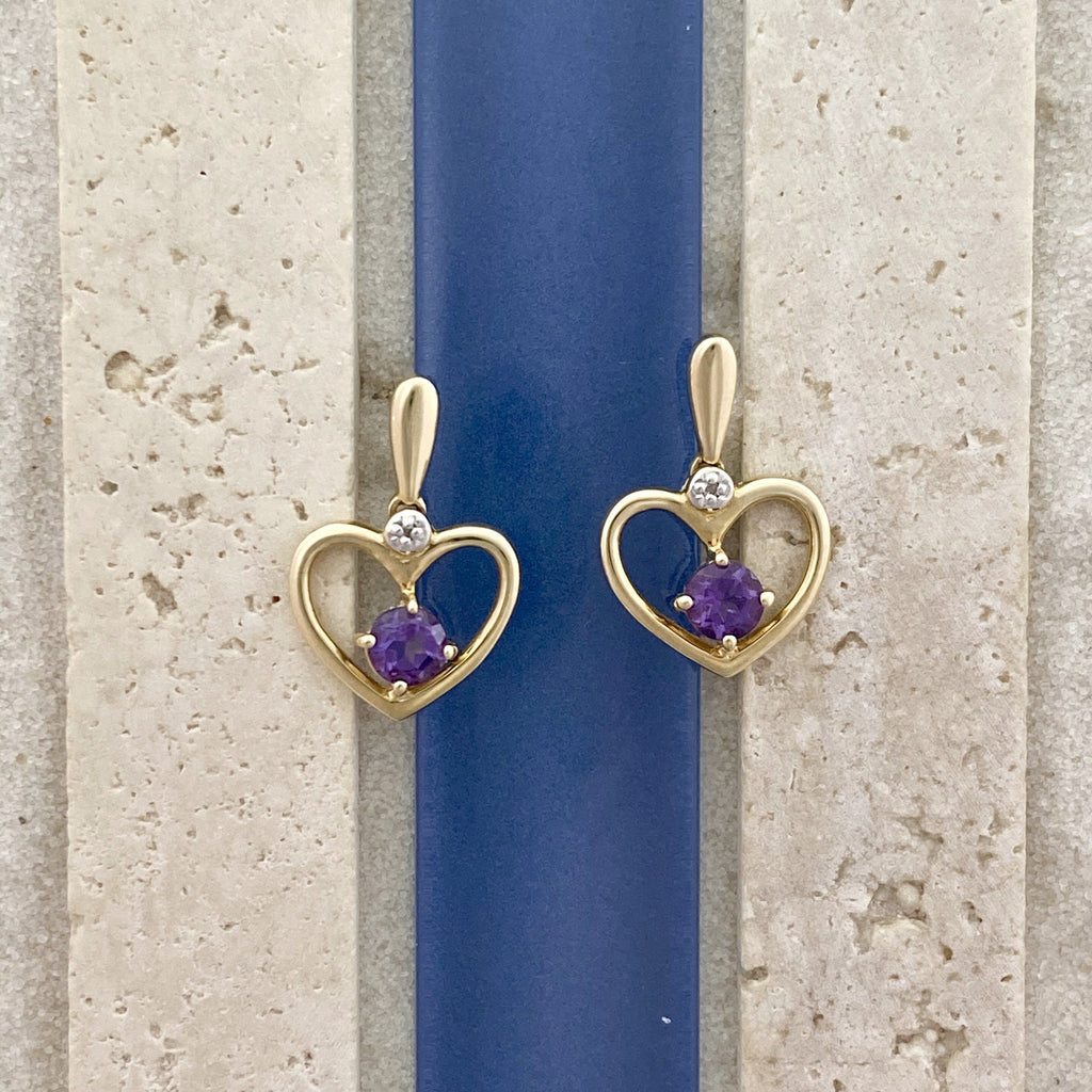14k Yellow Gold Hearts with Amethyst Post Earrings - DePaulas