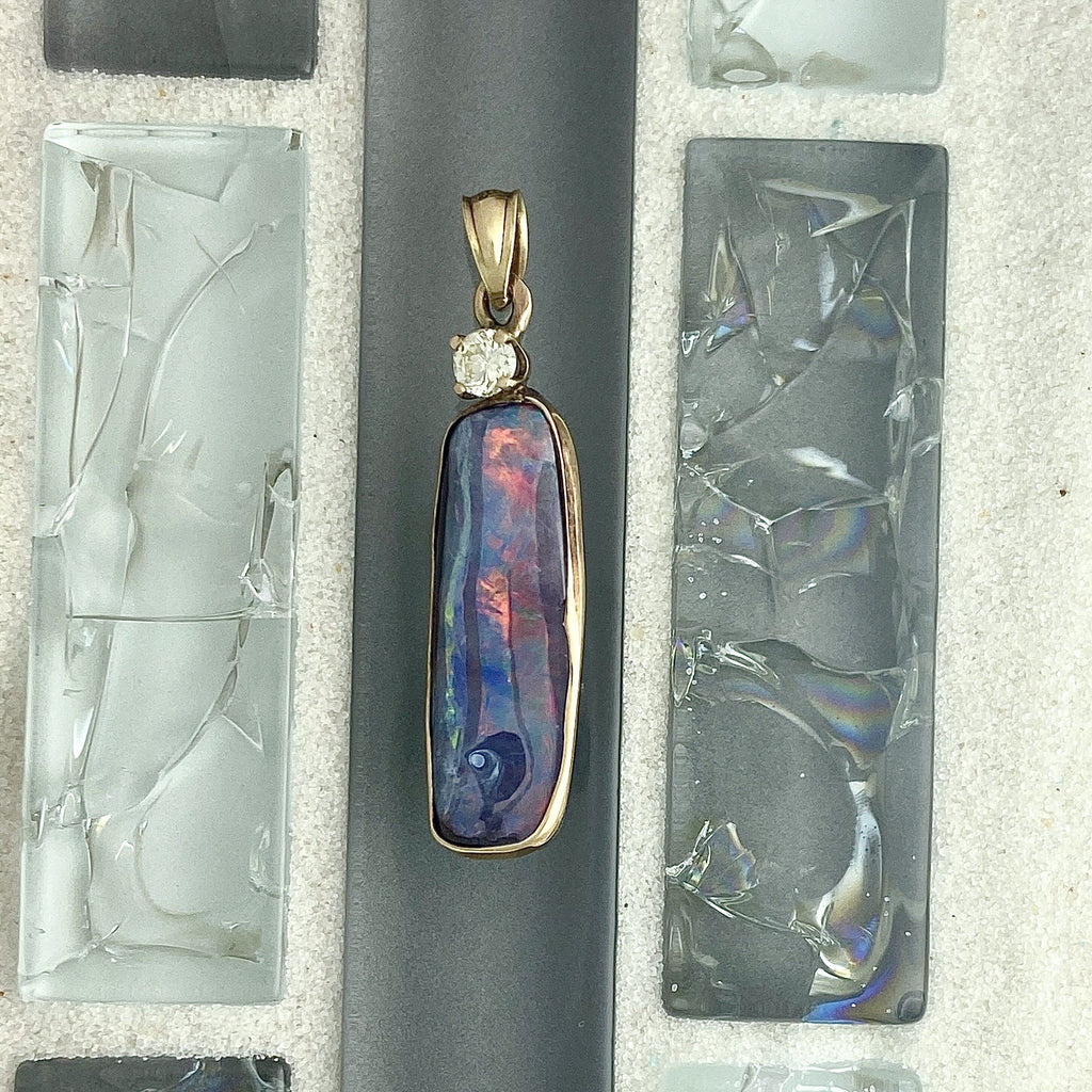 14k Yellow Gold Wrapped Boulder Opal With Diamond .16ct Pendant - DePaulas