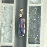 14k Yellow Gold Wrapped Boulder Opal With Diamond .16ct Pendant