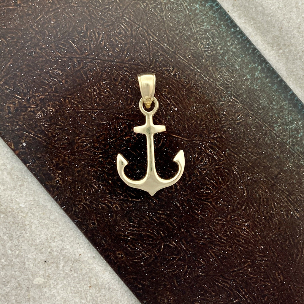 14k Yellow Gold Double Sided Anchor Pendant - DePaulas