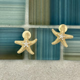 14k 2-Tone Gold Starfish with Diamonds .07cttw Post Earrings