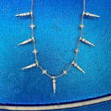 14k White Gold Diamond .24cttw Spikes Fashion Adjustable Necklace