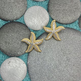 14k 2-Tone Medium Diamond Cut Starfish Post Earrings