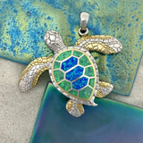 925 and 18k Gold Plating Synthetic Opal Turtle Kovel Collection Pendant