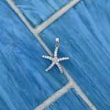 14k White Gold Diamond .25cttw Starfish Pendant
