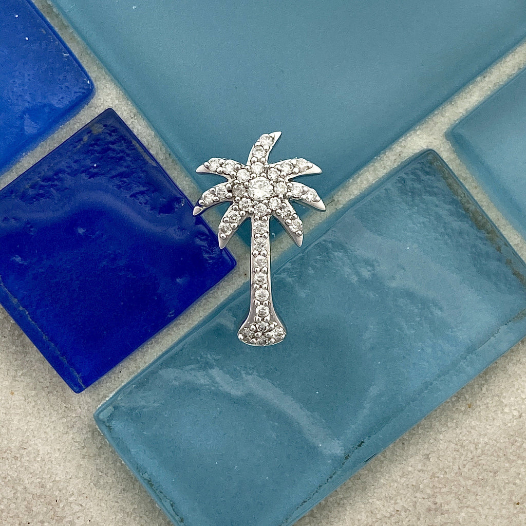 14k White Gold Diamond .50cttw Palm Tree Pendant - DePaulas