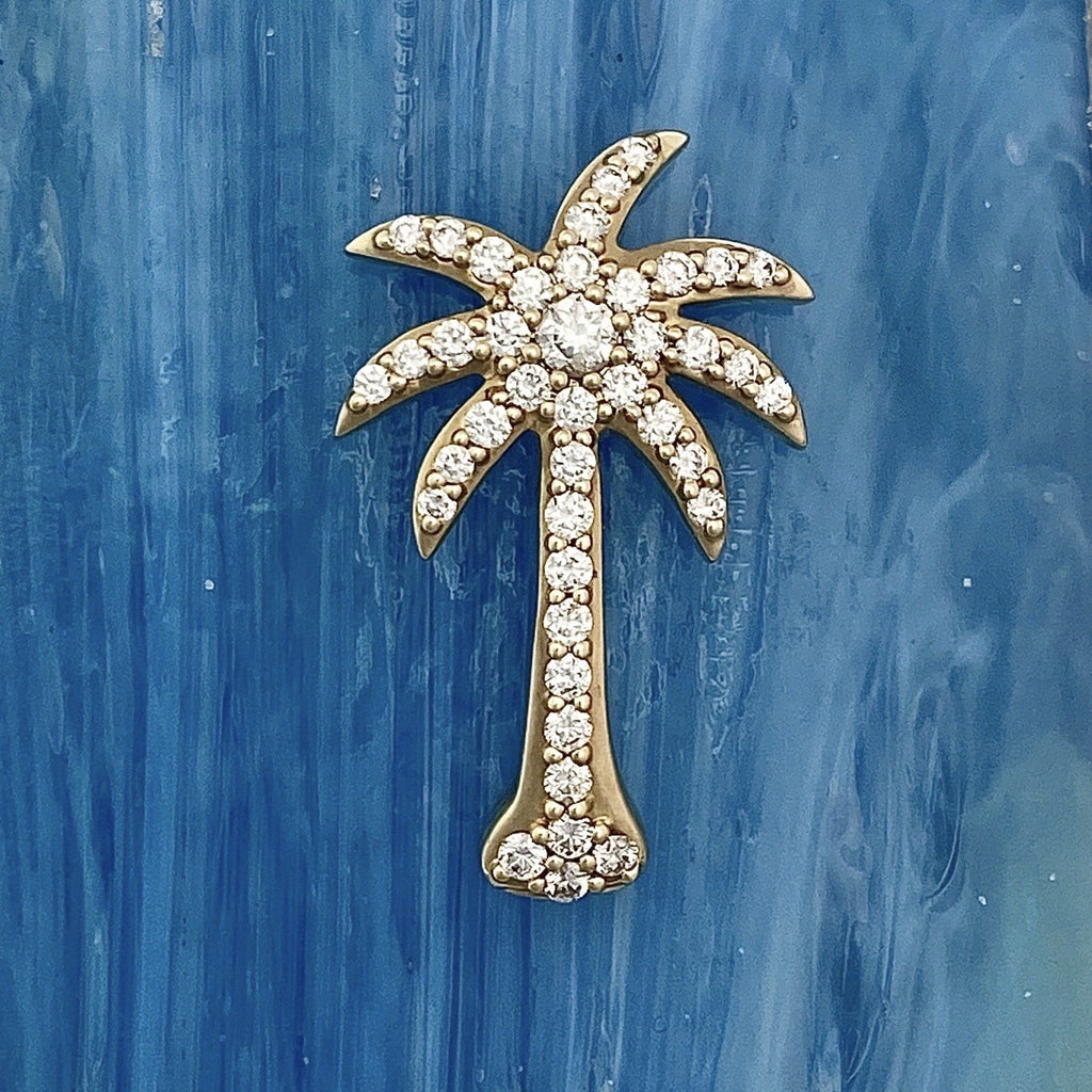 14k Yellow Gold Diamond 1cttw Palm Tree Pendant - DePaulas