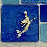 14k 2-Tone Gold Mermaid With Movable Tail Pendant