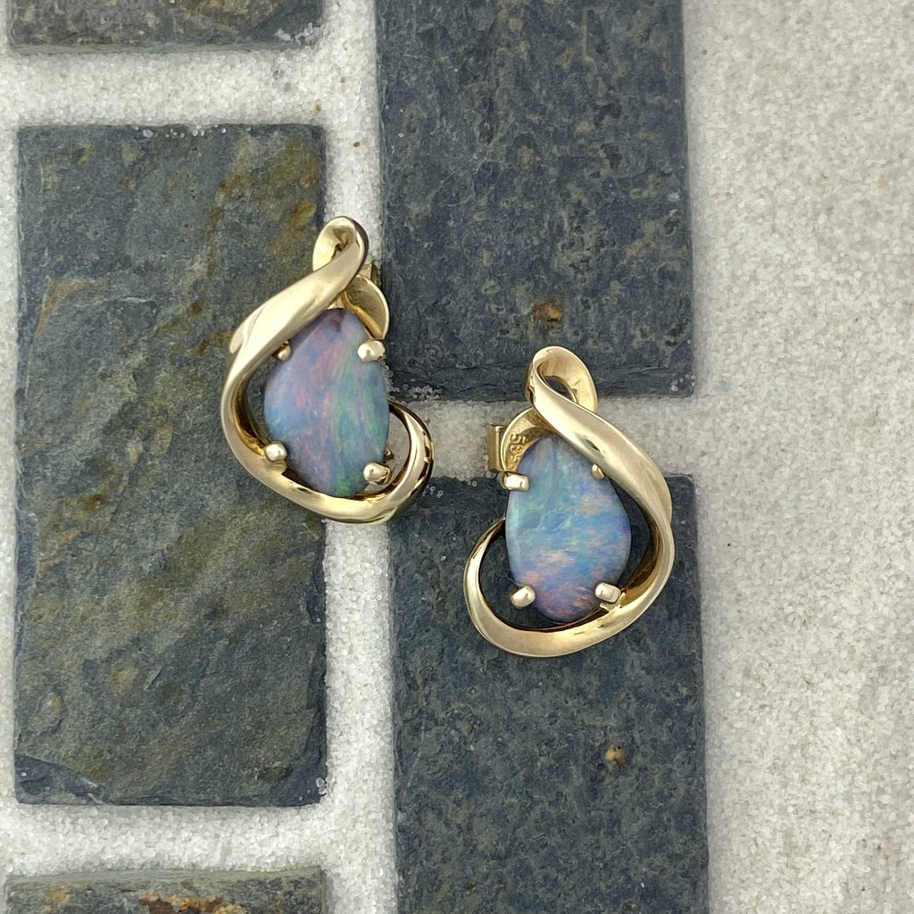 14k Yellow Gold Opal Post Earrings - DePaulas