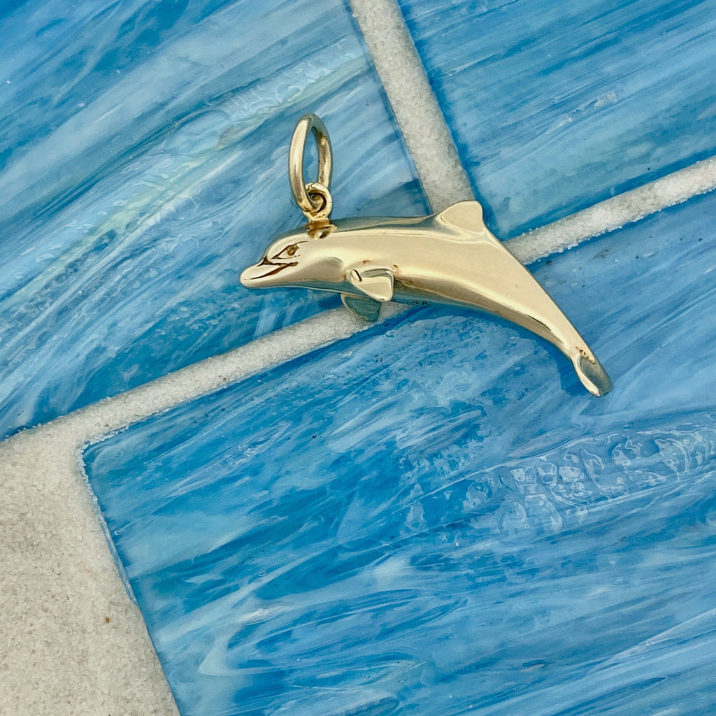 14k Yellow Gold Double Sided Dolphin Pendant - DePaulas