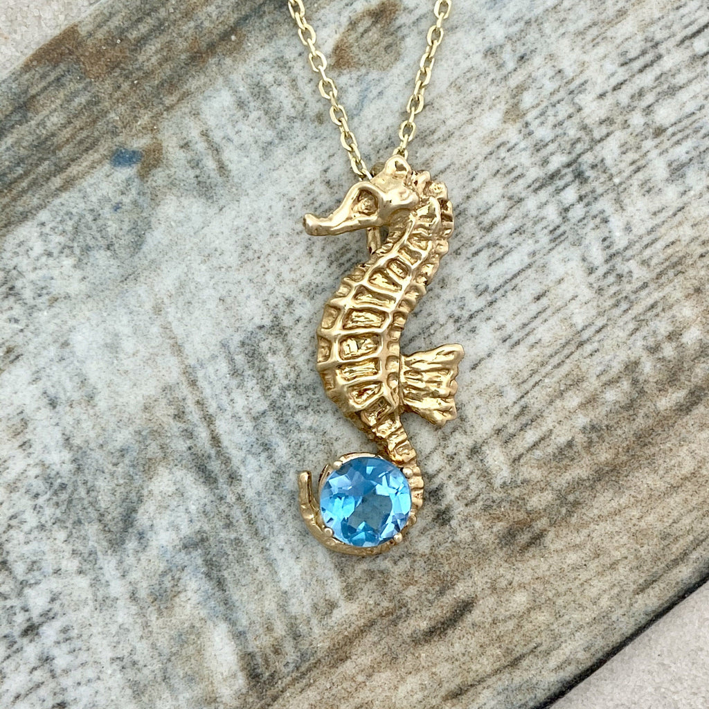 14k Yellow Gold Seahorse With Blue Topaz Necklace - DePaulas