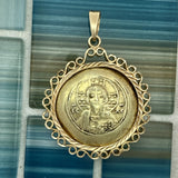 Byzantine Gold Histamenon 14k Yellow Gold Bezel Treasure Coin Pendant