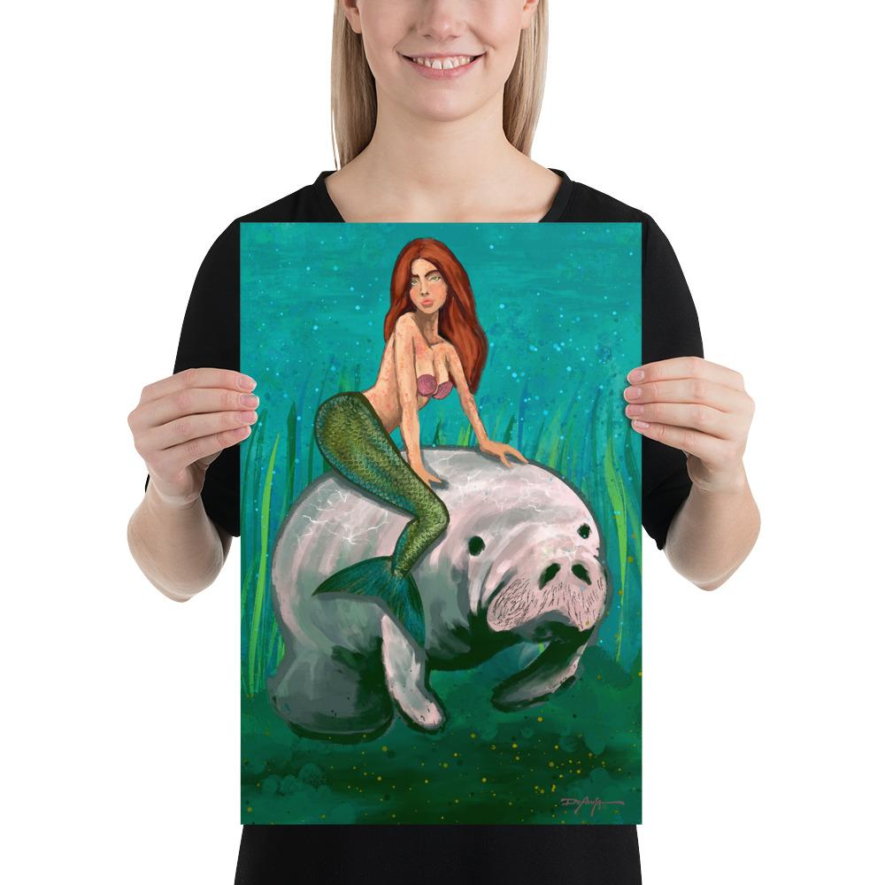Mermaid on a Manatee Fine Art Print