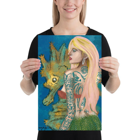 Tattooed Mermaid and Seahorse Art Print