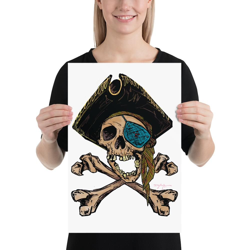 One-Eyed Pirate Crossbones Jolly Roger Print